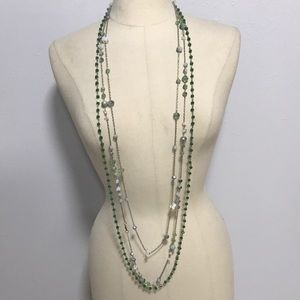 Set 3 long crystal silver bead layering necklaces